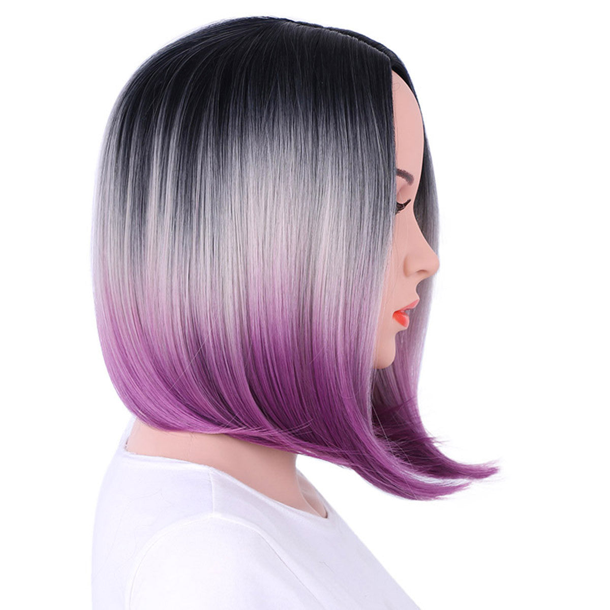 Bob Wig Gradient Color Cosplay Synthetic Hair Wig Short Straight Wigs Lace High Temperature Bob Wig - Jeybeauty