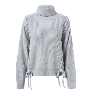 Side lace up sweater Turtleneck batwing sleeve loose pullover 2018 Autumn - Jeybeauty