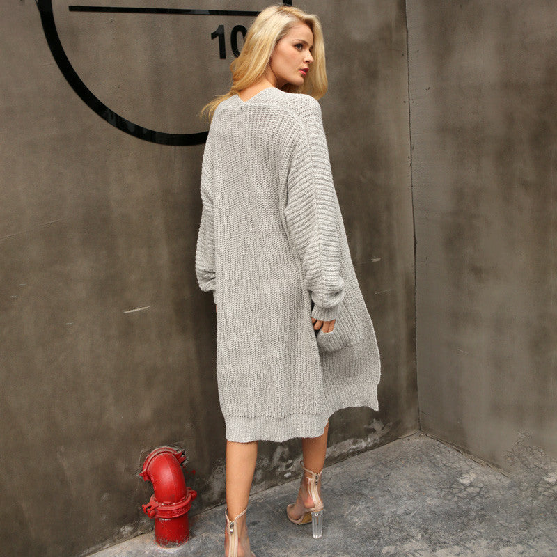 Autumn knitted long Winter Soft Loose Sweater cardigan Coat jumper outerwear - Jeybeauty