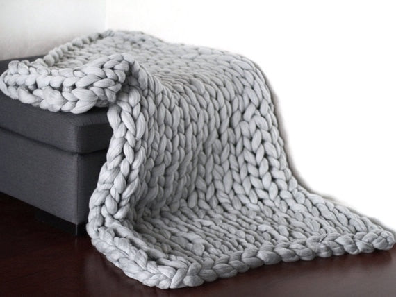 Hand Chunky Wool Knitted Blanket Thick Yarn Merino Wool - Jeybeauty