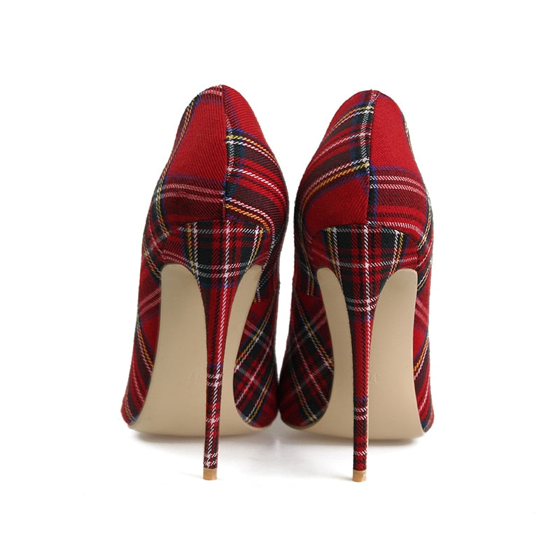 Pumps Plaid Pointed Toe Shallow Thin Heels Footwear - Jeybeauty