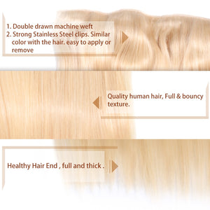 70g-100g Straight Clip In Hair Extensions Blonde Color Machine Made Remy Hair One piece Set 5 Clip-in 100% Human Hair - Jeybeauty