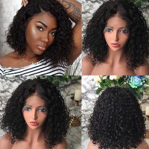 Short Curly Lace Front Human Hair Wigs Brazilian Hair Bob Wig With Bady Hair Pre Plucked - Jeybeauty