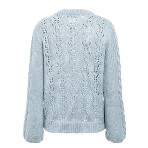 Hollow out knitted sexy sweater O ncek long sleeve 2018 autumn winter pollover - Jeybeauty