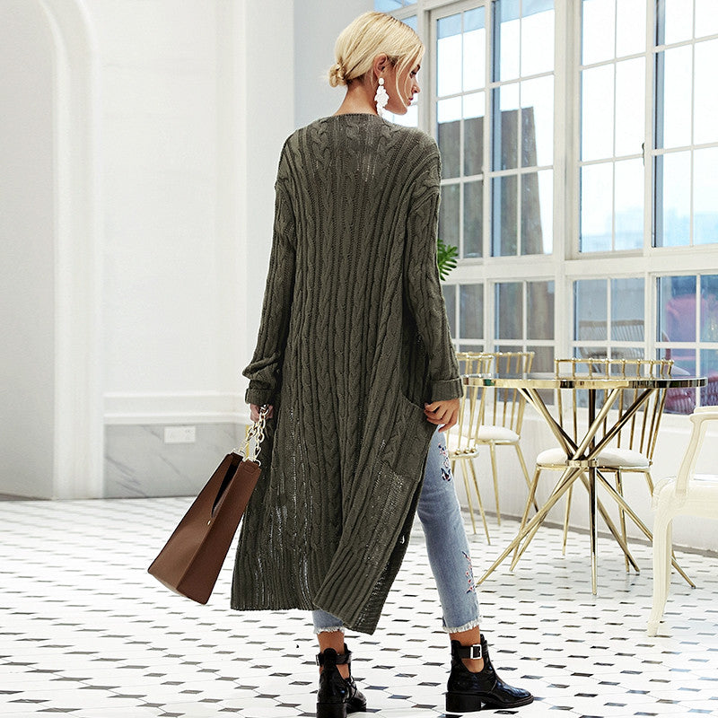 V neck knitting long cardigan Casual autumn winter sweater women cardigan girl Softly pockets sweater cardigans 2018 - Jeybeauty