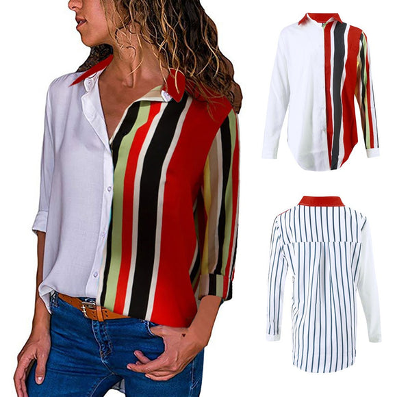 Color Block Stripe Button Blouse - Jeybeauty