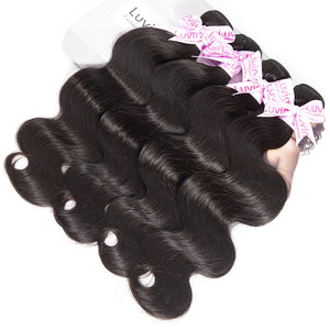 Peruvian Virgin Hair 4 Bundles With Closure Body Wave 100% Unprocessed Human Hair Weave Bundles With Lace Top Closure - Jeybeauty