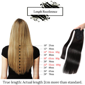 Ponytail Human Hair Clip In Black / Blonde Remy Hairpieces Straight Clip In Hair - Jeybeauty