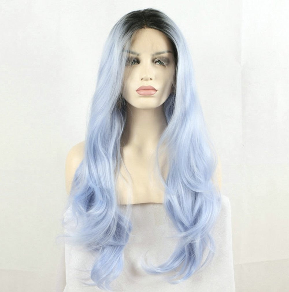 Dark Root Ombre Pastel Blue Heat Resistant Fiber Hair Long Nature Wave Light Blue Synthetic Full Wig - Jeybeauty