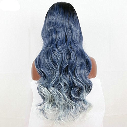 dark root ombre black blue to blue body wave Synthetic lace front wig - Jeybeauty