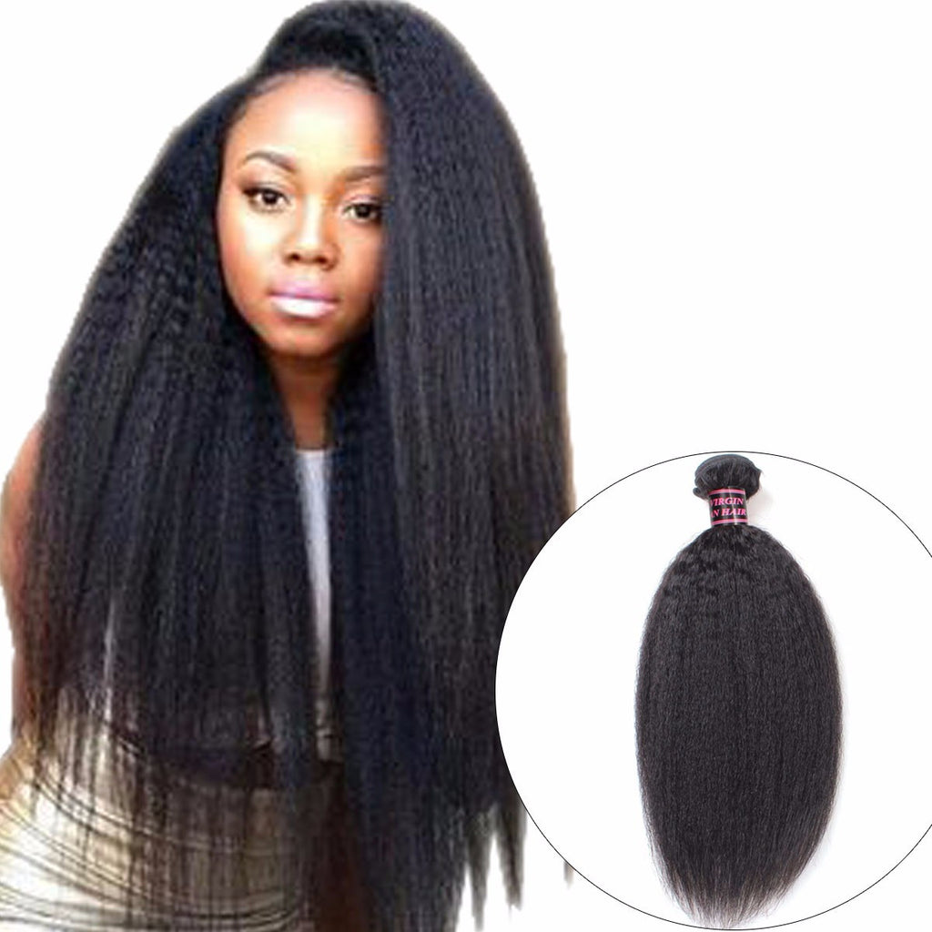 Kinky Straight Brazilian Hair Weave Bundle,Coarse Yaki Human Hair Bundle,Yaki Straight Hair - Jeybeauty