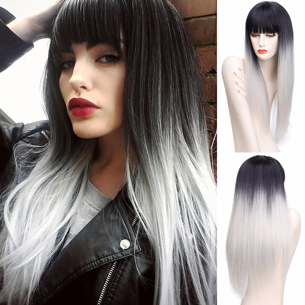 Straight Wig With Bangs, Silver Grey Hair Synthetic Fiber Wig 26inches - Jeybeauty