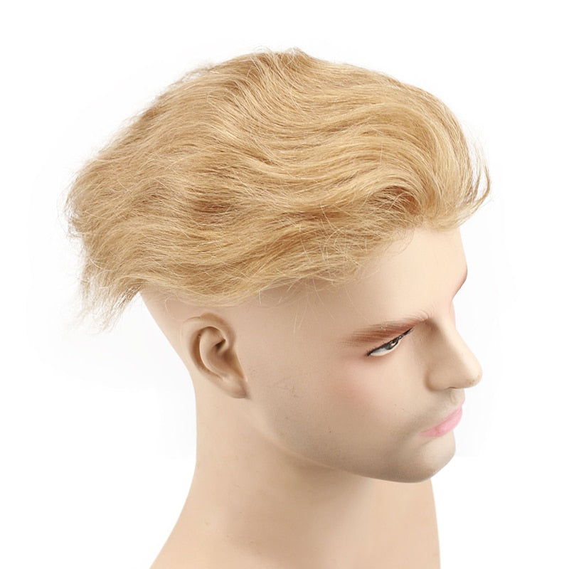 Men Toupee European Remy Hair Swiss Lace Front Toupee Wavy Skin PU Full Hand Made for Man - Jeybeauty