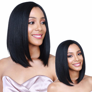 Black Short Straight Heat Resistant Synthetic Hair Wig 12inches - Jeybeauty