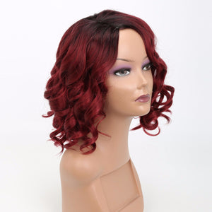 High Temperature Fiber Short Bouncy Curly Synthetic Wig, Heat Resistant Hair Wig For Lady 12inches - Jeybeauty