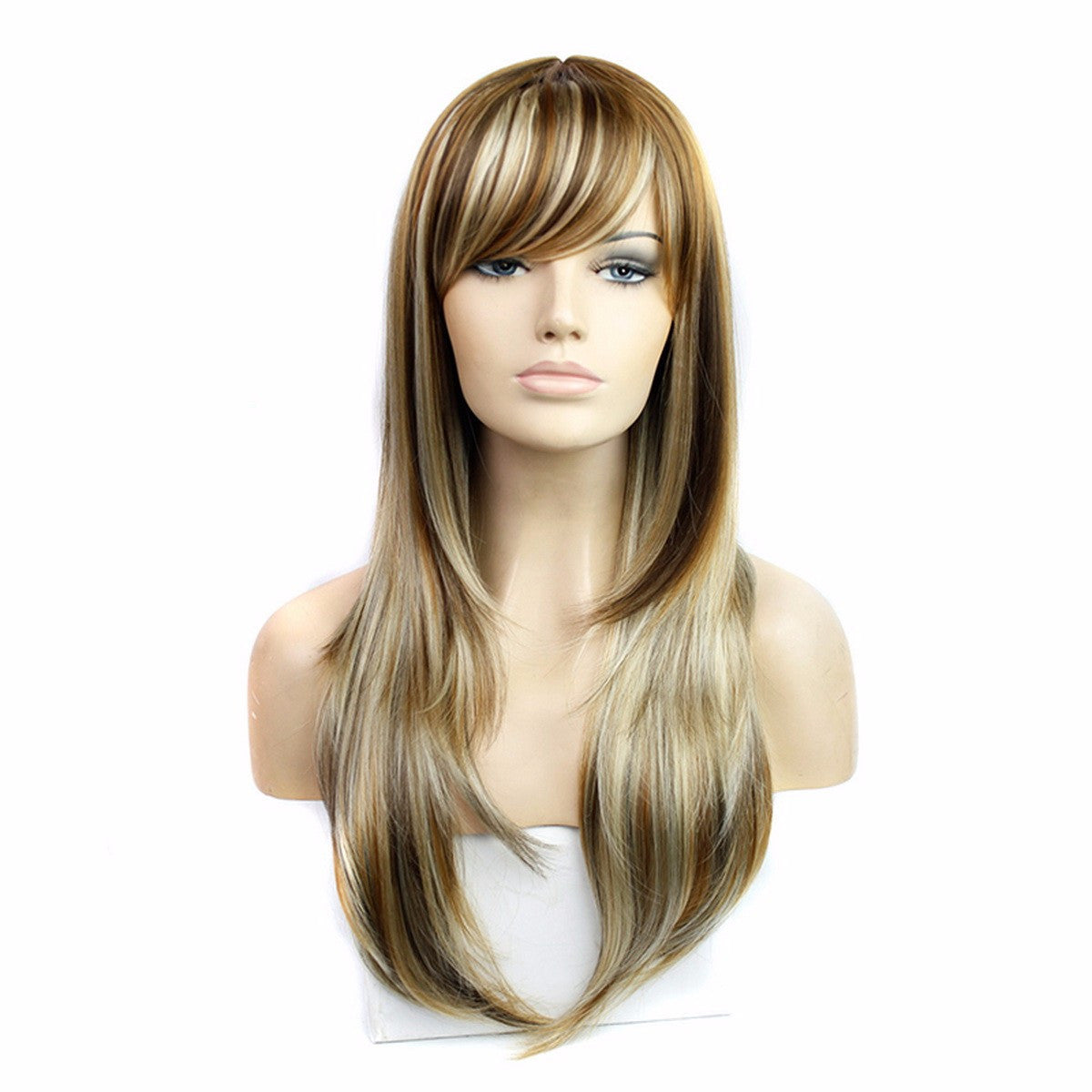 Blonde Ombre Natural Long Straight Synthetic Wig With Bangs,26inches - Jeybeauty