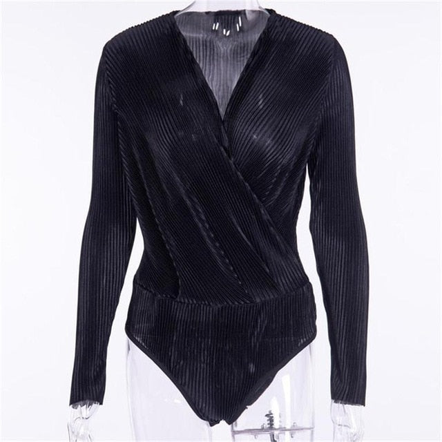 3 Color Pleated V Neck Bodysuits Blouse - Jeybeauty