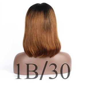 Lace Front Ombre Human Hair Wig Honey Blonde 27 Color Brazilian Straight Short Cut Bob Wig - Jeybeauty