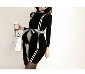 Stretch Bodycon Striped Sheath Pencil Dresses - Jeybeauty