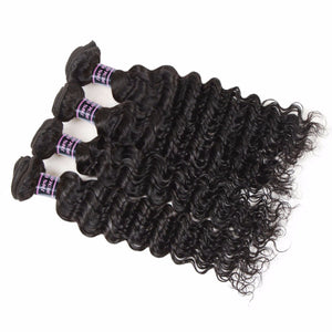 Raw Indian Deep Wave Bundles Deal, 100% Non Remy Human Hair Extension 4 Bundles, 8-28 Inch, Natural Color - Jeybeauty