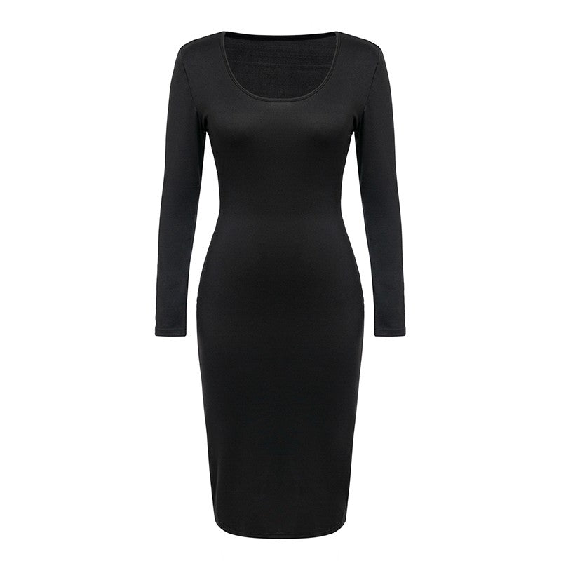 Black long sleeve sexy party dress Women winter club autumn long dress elegant Bodycon o neck midi dress vestidos 2018 - Jeybeauty