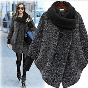 large size female coat 2 color high collar solid color coat long loose long sleeve wool coat - Jeybeauty