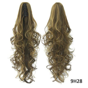15 Colors Long Curly Claw Clip Drawstring Ponytail Blond Hairpiece Wigs - Jeybeauty