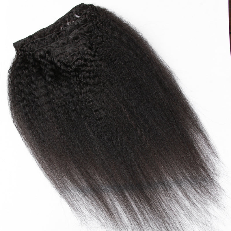 "Full Head Clip In Human Hair Extensions Kinky Straight Hair Clip Ins 200G 7 Pcs/Set Brazilian Remy Hair 10""~26"" - Jeybeauty"