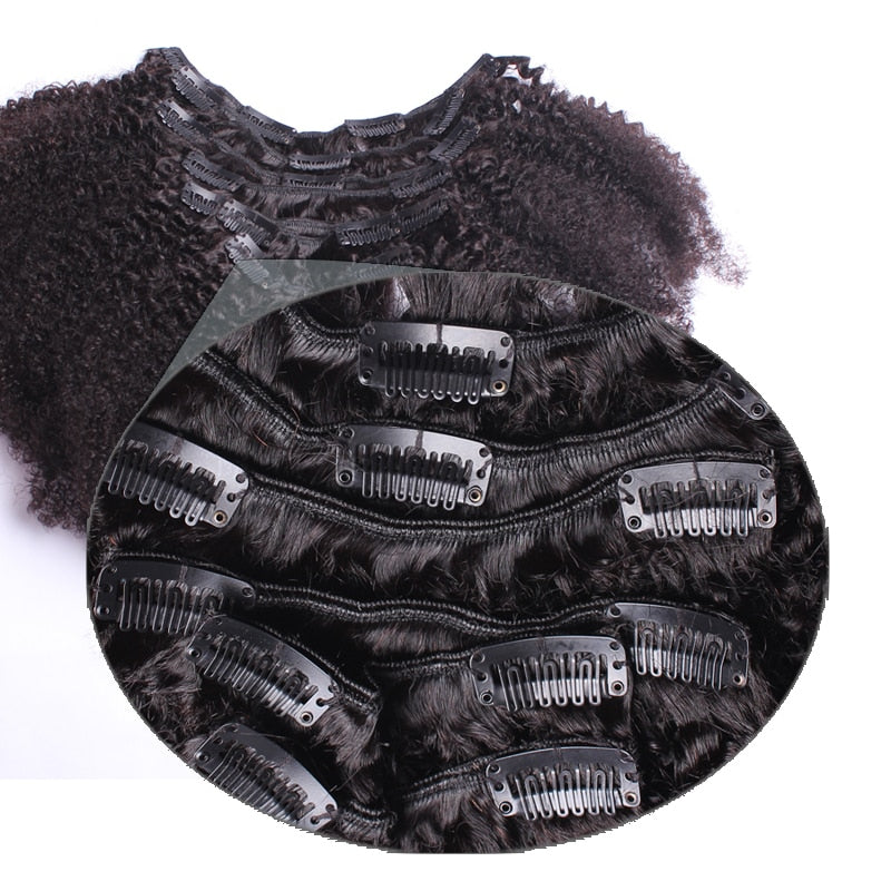 Clip In Human Hair Extensions 4B 4C Mongolian Afro Kinky Curly Virgin Hair Clip Ins - Jeybeauty