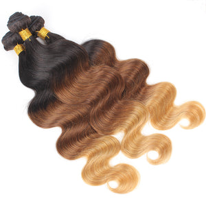 Three Tone Ombre Ombre Virgin Hair Body Wave Black Brown Blonde 1B/4/27 Human Hair Weaving - Jeybeauty