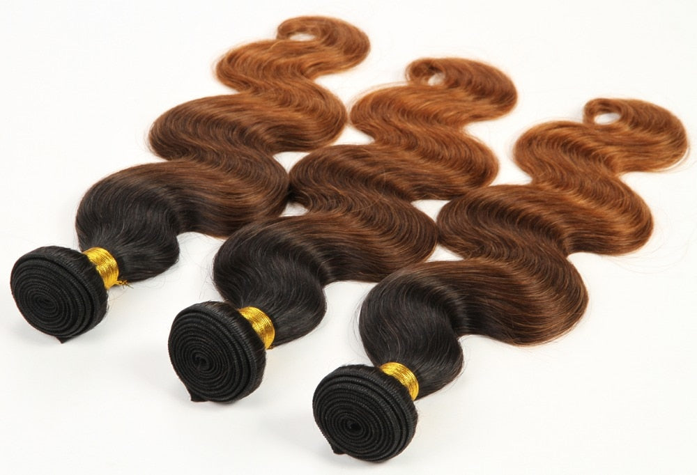 Ombre Brazilian Hair 100% Virgin Human Hair Weave Ombre Three Tone Body Wave T1B/4/30 3 Bundles - Jeybeauty