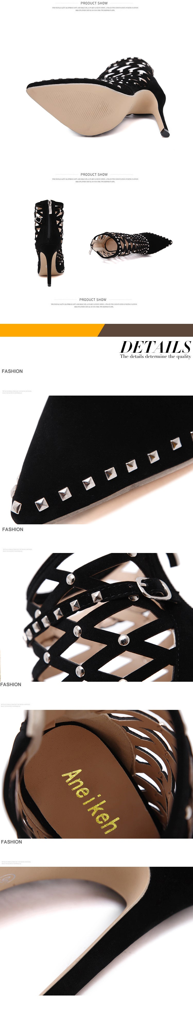 Rivets Studded Cut Out Caged Ankle Boots - Jeybeauty
