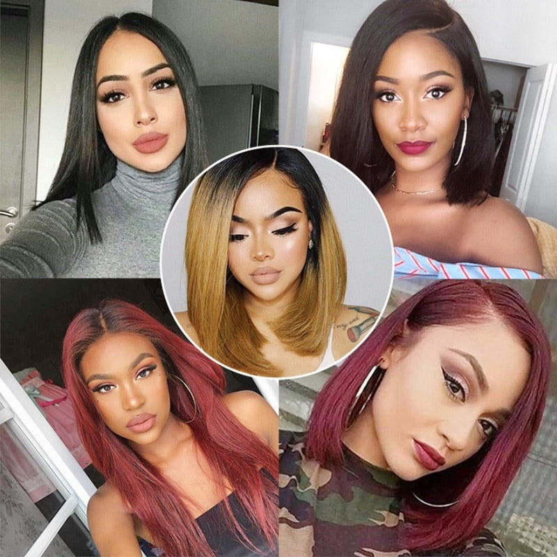 Ombre Color  1B/27 Honey Blonde Remy Short Bob  Lace Front Human Hair With Baby Hair Pre Plucked - Jeybeauty