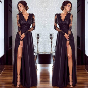 Long Sleeves V-Neck High Split Formal Dress Sexy Illusion Chiffon robe de soiree Ladies Party Gown - Jeybeauty