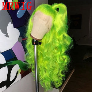 SHINY GREEN Long Curly Synthetic Glueless Front Lace Wig Brown Lace Cap - Jeybeauty