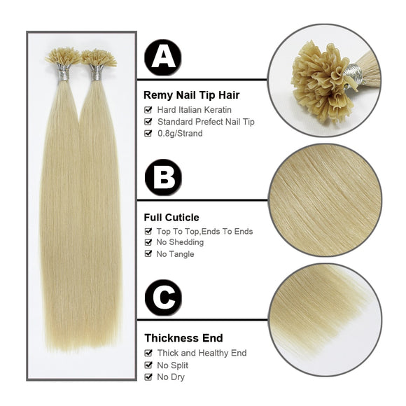 Remy Pre Bonded Human Hair Extension Silky Straight Professional Salon Fusion Colorful Hair Style - Jeybeauty