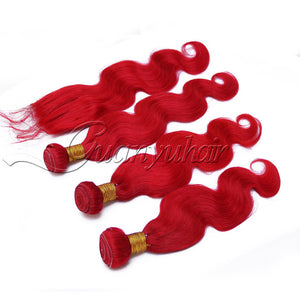 Pre-Colored Red Peruvian Human Hair Weave 3 Bundles With 4X4 Lace Closure Remy Hair Body Wave - Jeybeauty