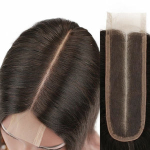 Deep Middle Part Top Lace Closure Malaysian Virgin Hair Pieces 2×6 - Jeybeauty