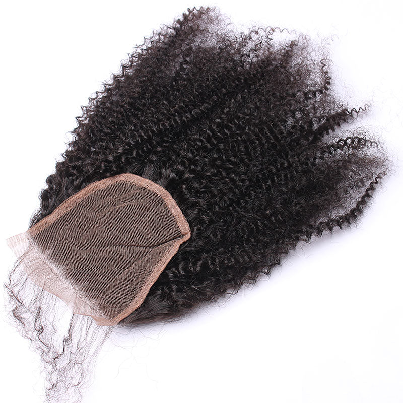 Afro Kinky Curly 5X5 Lace Closure Free Part Pre Plucked Virgin Hair With Baby Hair - Jeybeauty