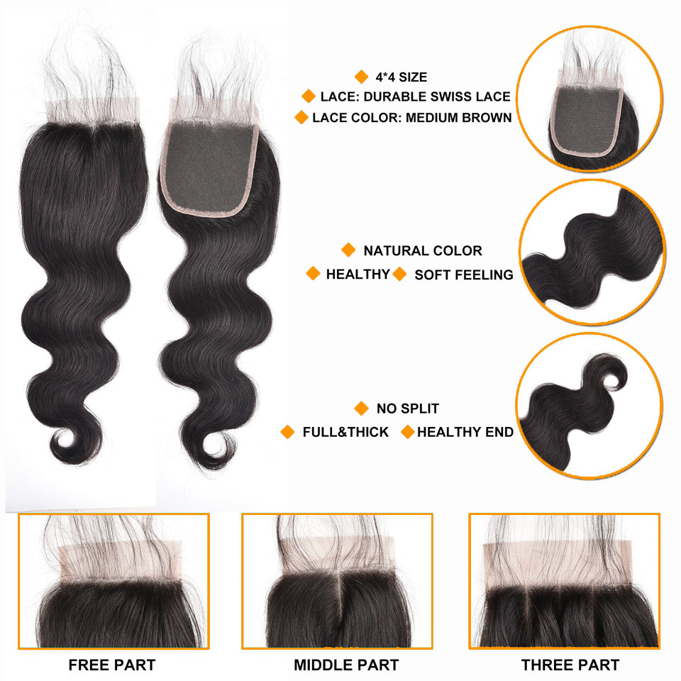 Mink Peruvian  Body Wave Lace Closure Free Part Top Unprocessed Virgin Hair closure - Jeybeauty