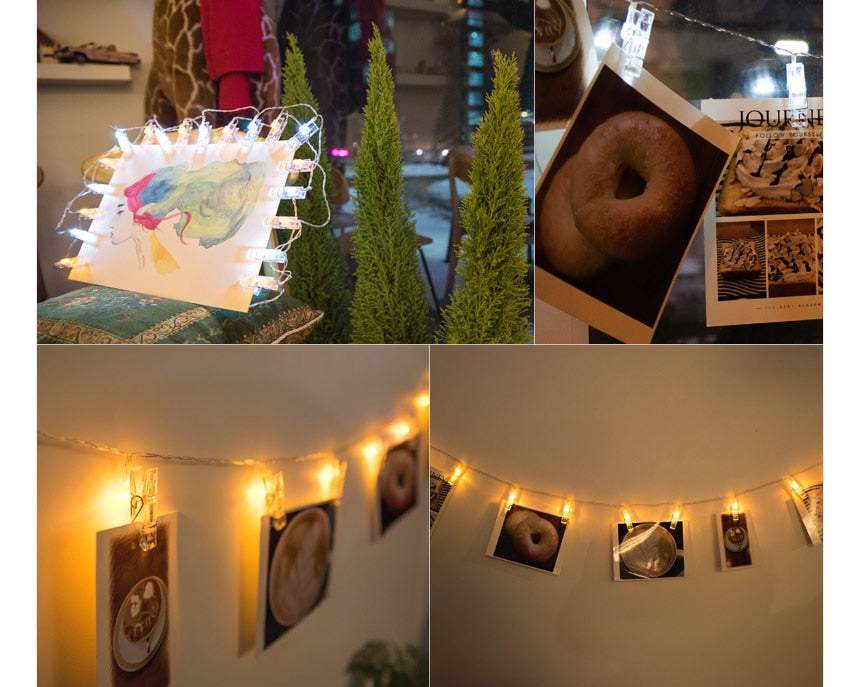 DIY Photo Clip pegs String Lights - Jeybeauty