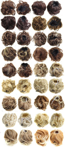 Synthetic Curly Chignon With Rubber Band Black Blonde Women Clip In Hairpiece Bun Drawstring for Wedding 36 Colors - Jeybeauty