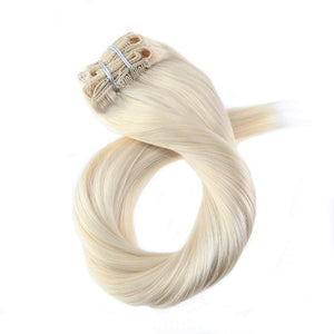 Platinum Blonde 100 Remy Clip in Double Weft 100g/pack - Jeybeauty