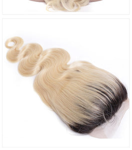 Preplucked Lace Wig Dark Root 1B 613 Ombre Color Blonde Lace Front Wig Human Hair Remy Brazilian Body Wave Wig - Jeybeauty