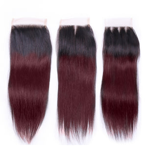 Ombre Bundles With Closure Pre-colored 1B 99J Brazilian Straight Hair Bundles With Closure Non Rmey Human Hair Weave - Jeybeauty