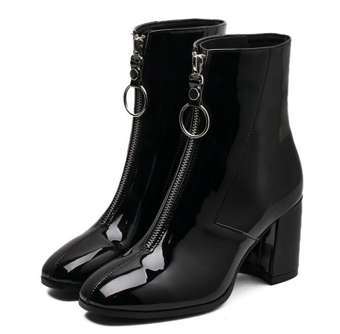 Vintage Square Toe High Heel Front Zipper Punk  Women Boots - Jeybeauty