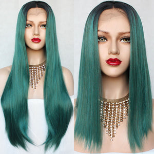 Black Green Ombre Color Short/Long Straight Lace Wig Smooth Wigs with Natural Hairline Synthetic Lace Front Wigs for Black Women - Jeybeauty