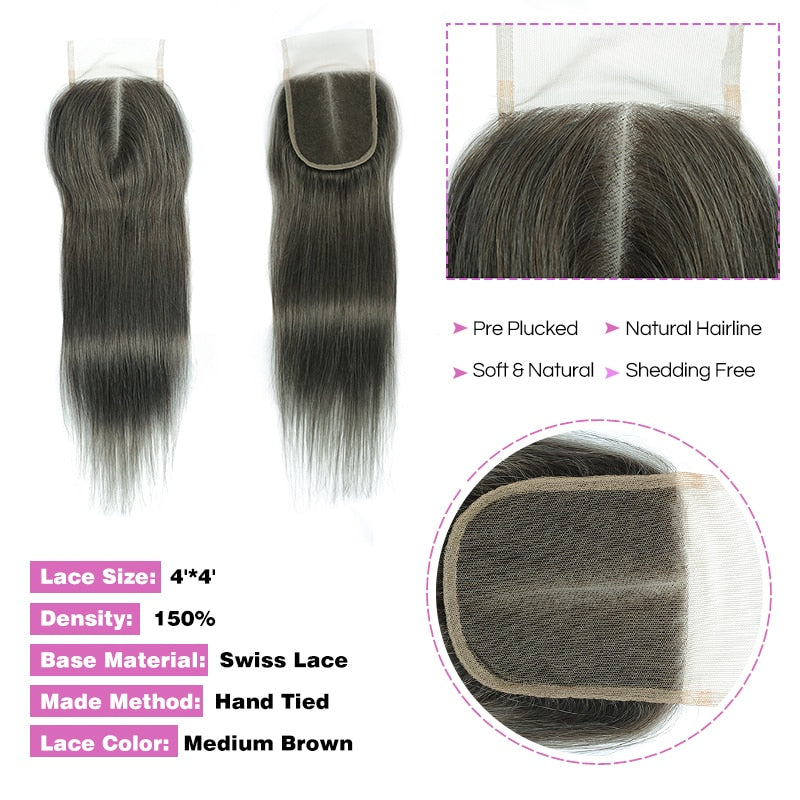 Brazilian Straight Hair 4 Bundles With Closure Gray Hair Non remy - Jeybeauty