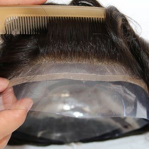 Human Hair Durable Hairpieces Lace Thin PU Replacement System For Men Toupees  Human Hair Durable Hairpieces Lace & PU - Jeybeauty
