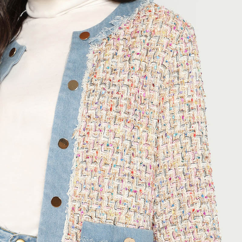 Multicolor Tweed Denim Trim Button Up Jacket And Waistband Bodycon Short Skirt Women Autumn Workwear Fashion Set - Jeybeauty